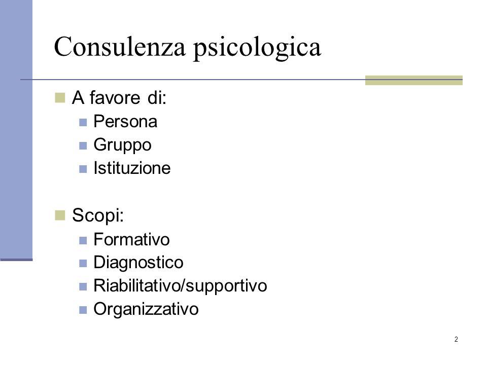 2 Consulenza psicologica A favore di: Persona Gruppo Istituzione Scopi: Formativo Diagnostico Riabilitativo/supportivo Organizzativo