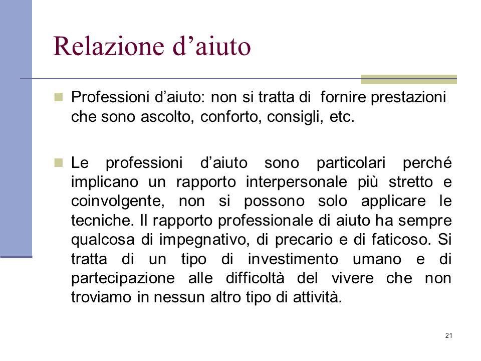 21 Relazione daiuto Professioni daiuto: non si tratta di fornire prestazioni che sono ascolto, conforto, consigli, etc. Le professioni daiuto sono par