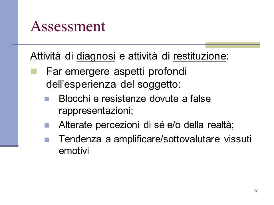 37 Assessment Attività di diagnosi e attività di restituzione: Far emergere aspetti profondi dellesperienza del soggetto: Blocchi e resistenze dovute
