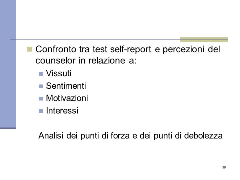 38 Confronto tra test self-report e percezioni del counselor in relazione a: Vissuti Sentimenti Motivazioni Interessi Analisi dei punti di forza e dei