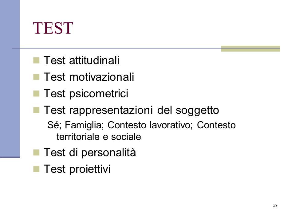 39 TEST Test attitudinali Test motivazionali Test psicometrici Test rappresentazioni del soggetto Sé; Famiglia; Contesto lavorativo; Contesto territor