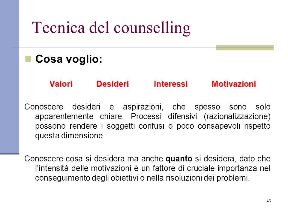 43 Tecnica del counselling Cosa voglio: Valori DesideriInteressiMotivazioni Conoscere desideri e aspirazioni, che spesso sono solo apparentemente chia