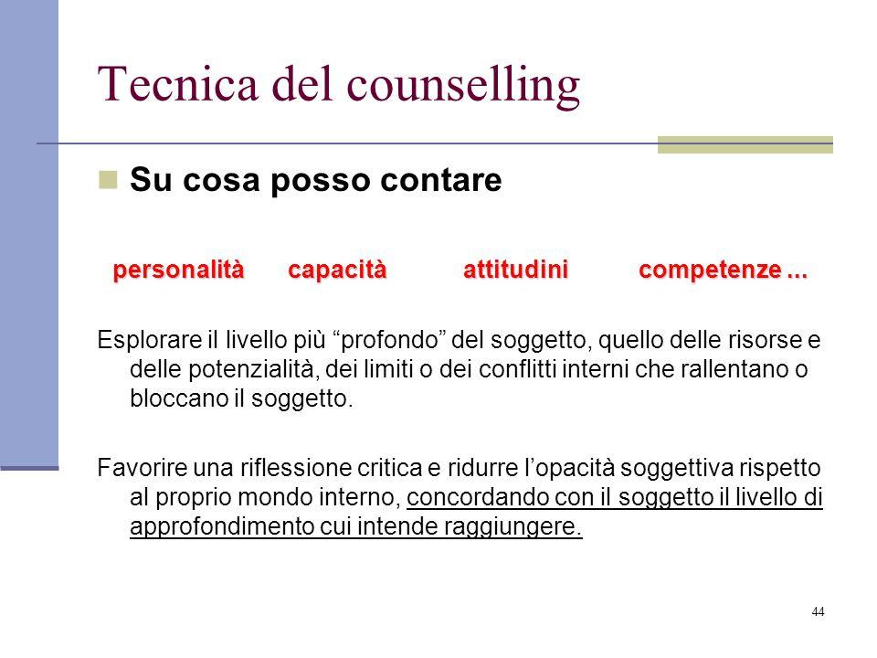 44 Tecnica del counselling Su cosa posso contare personalitàcapacitàattitudinicompetenze... Esplorare il livello più profondo del soggetto, quello del