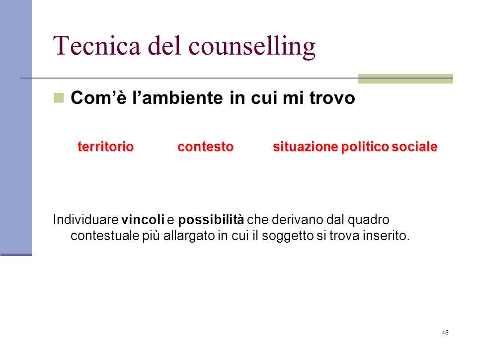 46 Tecnica del counselling Comè lambiente in cui mi trovo territorio contesto situazione politico sociale Individuare vincoli e possibilità che deriva