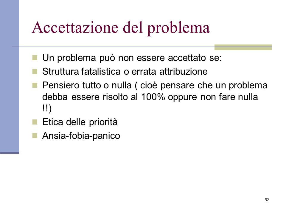 52 Accettazione del problema Un problema può non essere accettato se: Struttura fatalistica o errata attribuzione Pensiero tutto o nulla ( cioè pensar