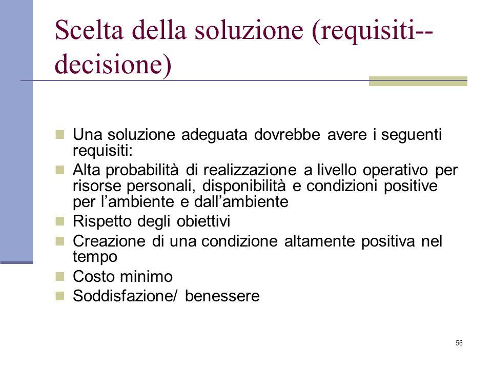 56 Scelta della soluzione (requisiti-- decisione) Una soluzione adeguata dovrebbe avere i seguenti requisiti: Alta probabilità di realizzazione a live