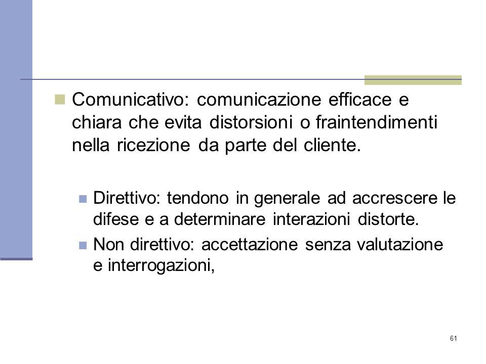 61 Comunicativo: comunicazione efficace e chiara che evita distorsioni o fraintendimenti nella ricezione da parte del cliente. Direttivo: tendono in g