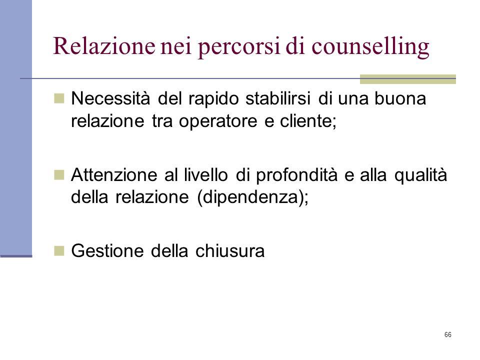 66 Relazione nei percorsi di counselling Necessità del rapido stabilirsi di una buona relazione tra operatore e cliente; Attenzione al livello di prof