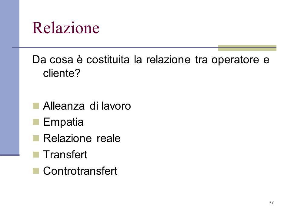 67 Relazione Da cosa è costituita la relazione tra operatore e cliente? Alleanza di lavoro Empatia Relazione reale Transfert Controtransfert