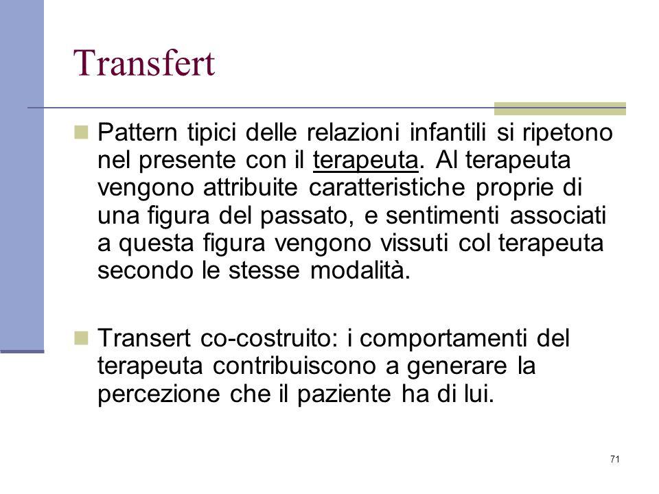 71 Transfert Pattern tipici delle relazioni infantili si ripetono nel presente con il terapeuta. Al terapeuta vengono attribuite caratteristiche propr