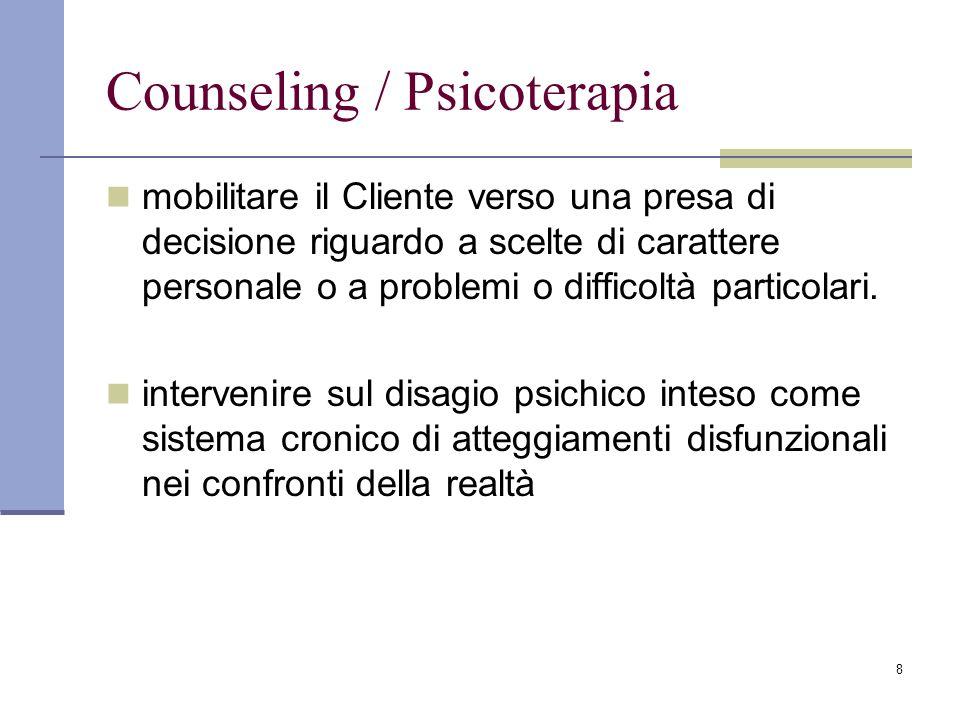 19 Il counselor è mantenuto a tenere la relazione nel quadro dellaiuto senza indulgere ad approcci che avvicinerebbero la sua azione al versante psicoterapeutico.