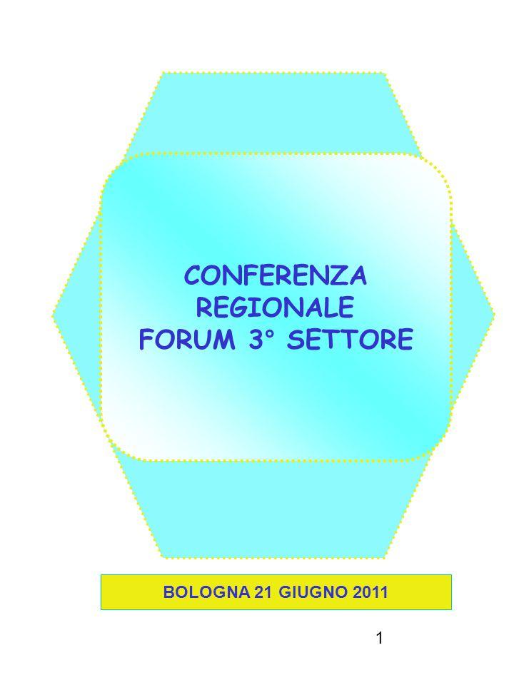 1 CONFERENZA REGIONALE FORUM 3° SETTORE BOLOGNA 21 GIUGNO 2011