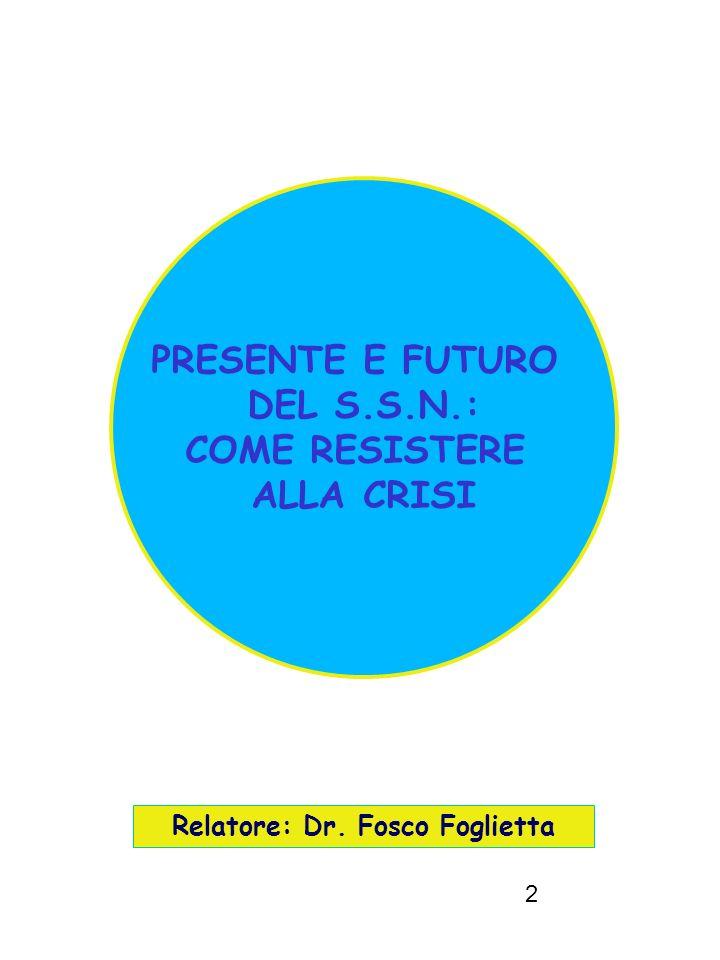 2 Relatore: Dr. Fosco Foglietta PRESENTE E FUTURO DEL S.S.N.: COME RESISTERE ALLA CRISI