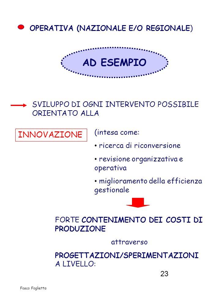 23 Fosco Foglietta OPERATIVA (NAZIONALE E/O REGIONALE) AD ESEMPIO SVILUPPO DI OGNI INTERVENTO POSSIBILE ORIENTATO ALLA INNOVAZIONE (intesa come: ricer