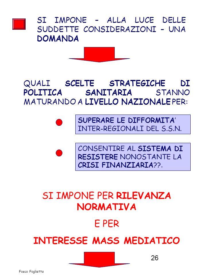 26 Fosco Foglietta SI IMPONE – ALLA LUCE DELLE SUDDETTE CONSIDERAZIONI – UNA DOMANDA QUALI SCELTE STRATEGICHE DI POLITICA SANITARIA STANNO MATURANDO A