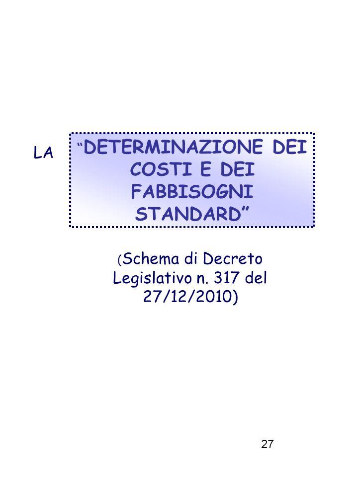 27 DETERMINAZIONE DEI COSTI E DEI FABBISOGNI STANDARD LA ( Schema di Decreto Legislativo n. 317 del 27/12/2010)