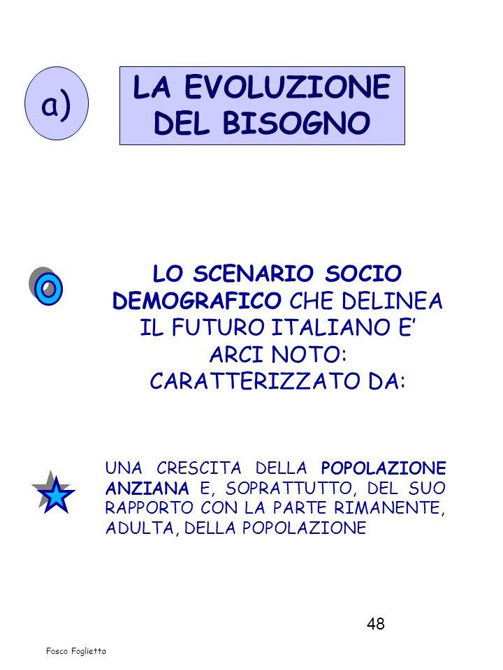 48 LO SCENARIO SOCIO DEMOGRAFICO CHE DELINEA IL FUTURO ITALIANO E ARCI NOTO: CARATTERIZZATO DA: UNA CRESCITA DELLA POPOLAZIONE ANZIANA E, SOPRATTUTTO,