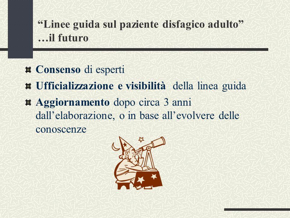Linee guida sul paziente disfagico adulto …il futuro Consenso di esperti Ufficializzazione e visibilità della linea guida Aggiornamento dopo circa 3 a
