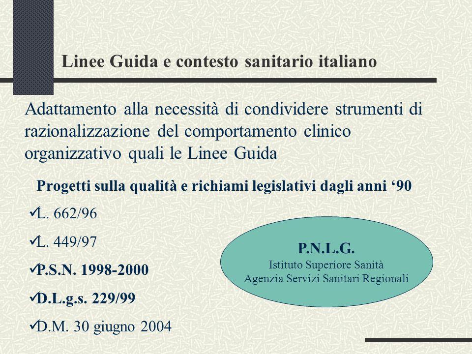 Linee Guida e contesto sanitario italiano Progetti sulla qualità e richiami legislativi dagli anni 90 Adattamento alla necessità di condividere strume