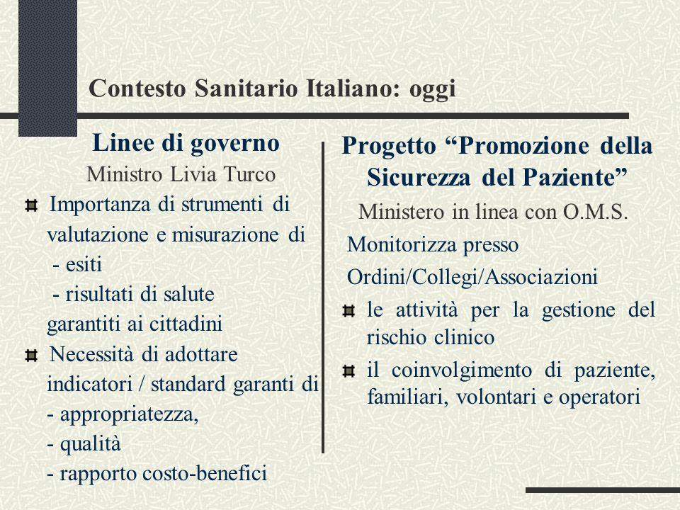 Contesto Sanitario Italiano: oggi Linee di governo Ministro Livia Turco Importanza di strumenti di valutazione e misurazione di - esiti - risultati di