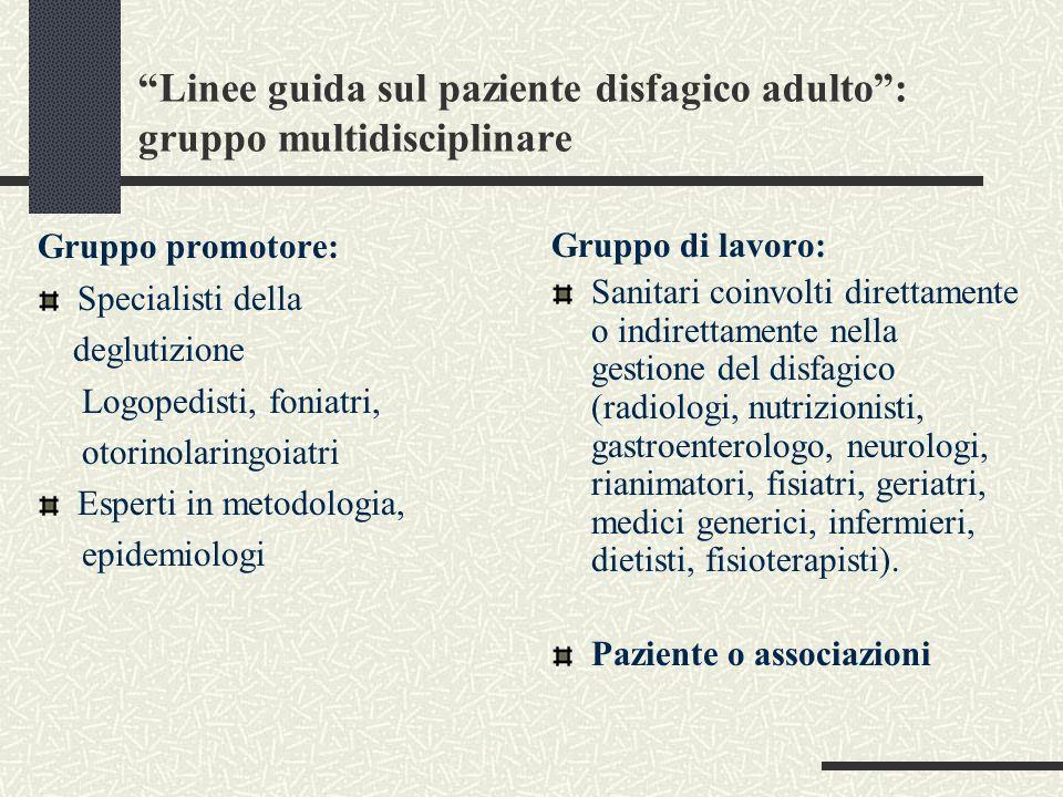 Linee guida sul paziente disfagico adulto: gruppo multidisciplinare Gruppo promotore: Specialisti della deglutizione Logopedisti, foniatri, otorinolar
