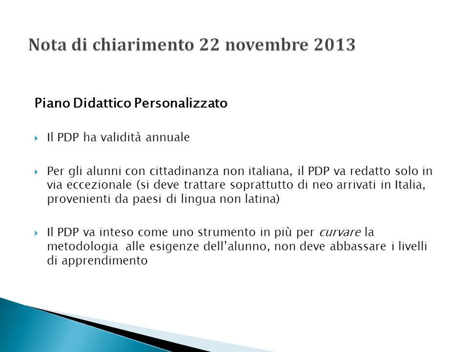 Piano Didattico Personalizzato Il PDP ha validità annuale Per gli alunni con cittadinanza non italiana, il PDP va redatto solo in via eccezionale (si