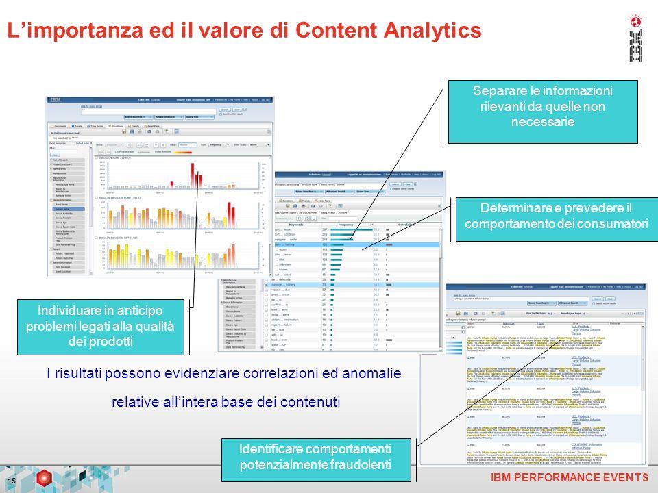 IBM PERFORMANCE EVENTS 15 Individuare in anticipo problemi legati alla qualità dei prodotti Separare le informazioni rilevanti da quelle non necessarie Identificare comportamenti potenzialmente fraudolenti Determinare e prevedere il comportamento dei consumatori I risultati possono evidenziare correlazioni ed anomalie relative allintera base dei contenuti Limportanza ed il valore di Content Analytics