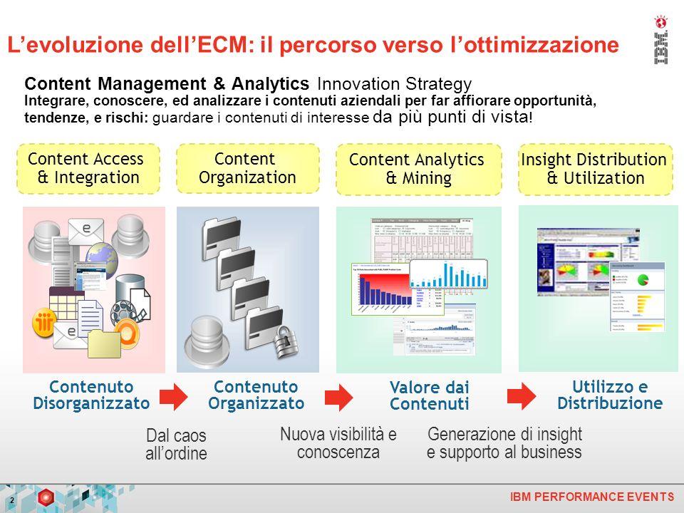 IBM PERFORMANCE EVENTS 2 Utilizzo e Distribuzione Valore dai Contenuti Content Management & Analytics Innovation Strategy Integrare, conoscere, ed ana
