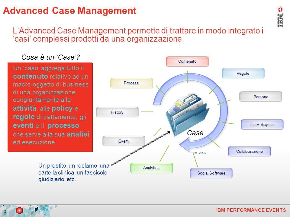 IBM PERFORMANCE EVENTS 8 LAdvanced Case Management permette di trattare in modo integrato i casi complessi prodotti da una organizzazione Un caso aggrega tutto il contenuto relativo ad un macro oggetto di business di una organizzazione congiuntamente alle attività, alle policy e regole di trattamento, gli eventi e il processo che serve alla sua analisi ed esecuzione Cosa è un Case.