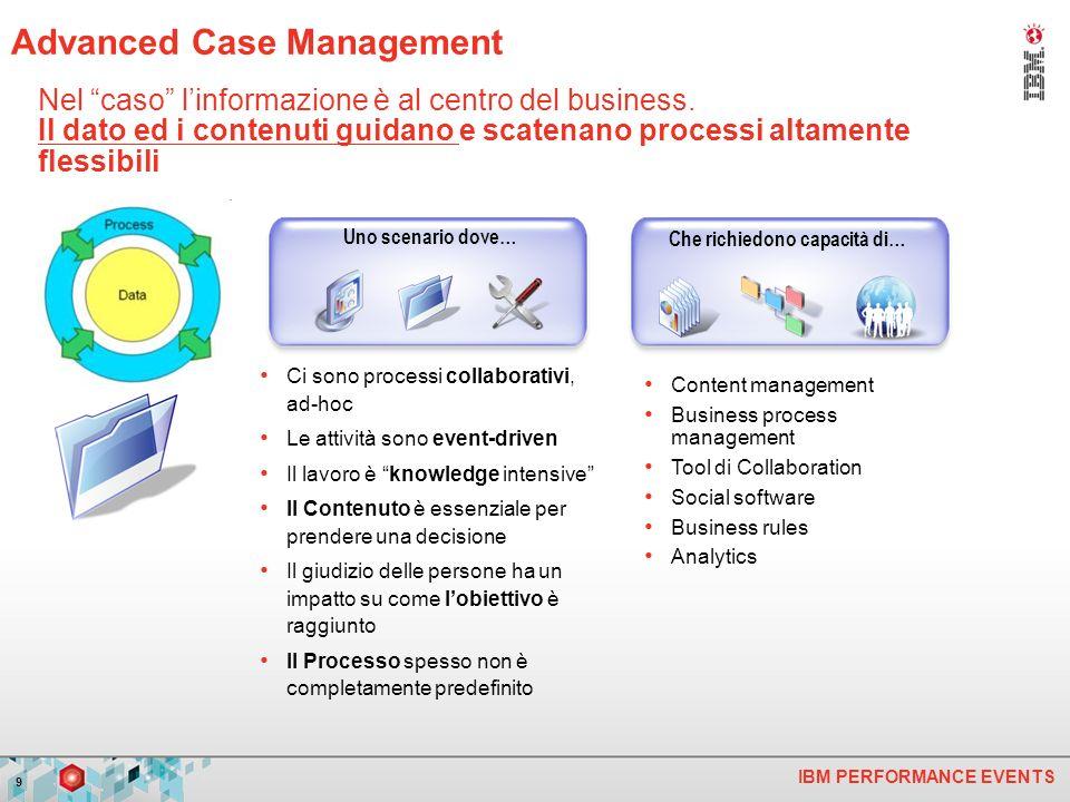 IBM PERFORMANCE EVENTS 9 Nel caso linformazione è al centro del business. Il dato ed i contenuti guidano e scatenano processi altamente flessibili Ci