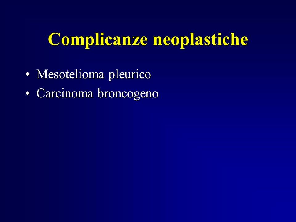 Complicanze neoplastiche Mesotelioma pleuricoMesotelioma pleurico Carcinoma broncogenoCarcinoma broncogeno