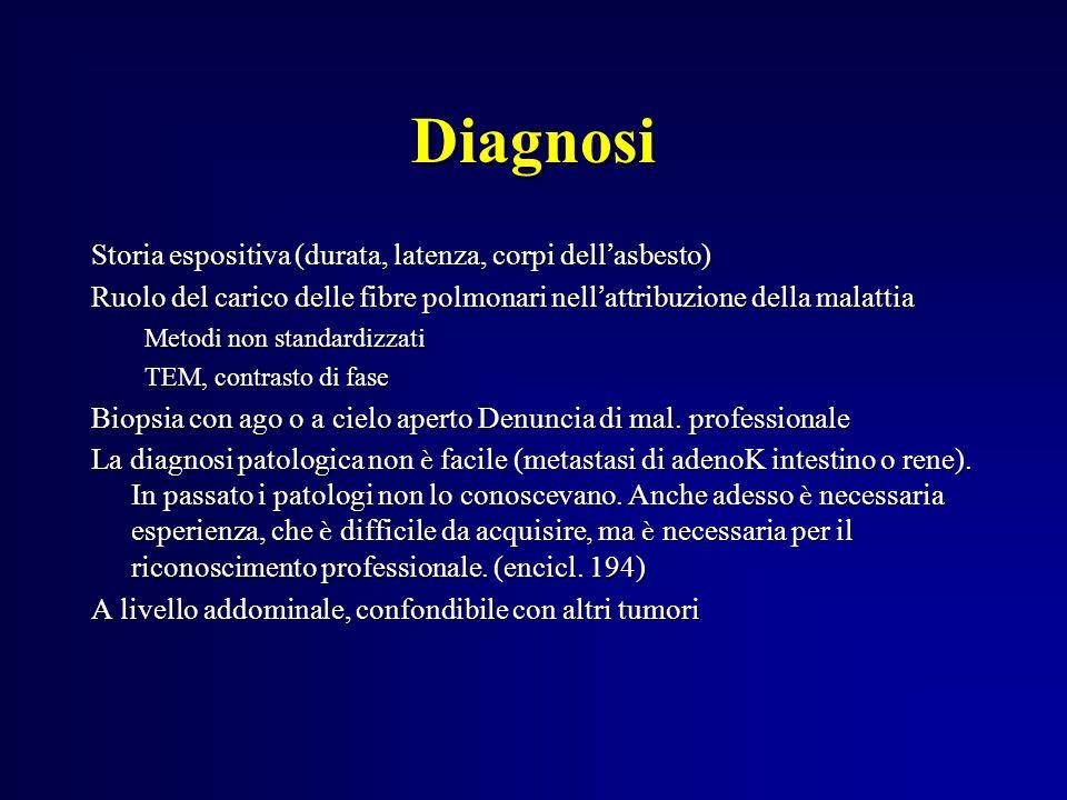 Diagnosi Storia espositiva (durata, latenza, corpi dell asbesto) Ruolo del carico delle fibre polmonari nell attribuzione della malattia Metodi non st
