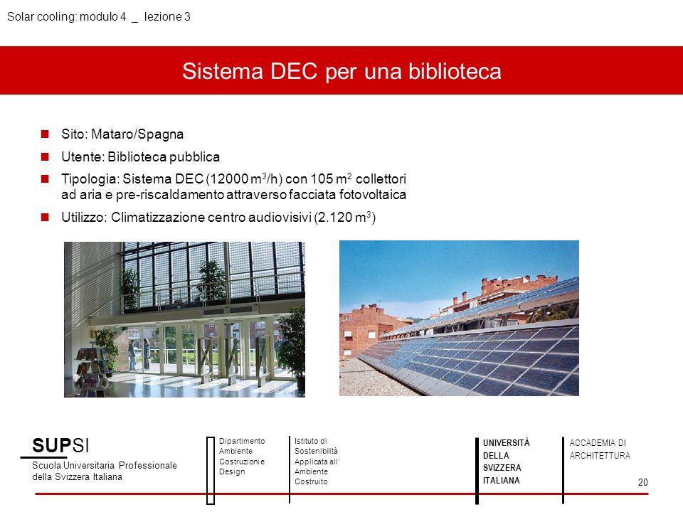 Sistema DEC per una biblioteca SUPSI Scuola Universitaria Professionale della Svizzera Italiana Dipartimento Ambiente Costruzioni e Design Istituto di