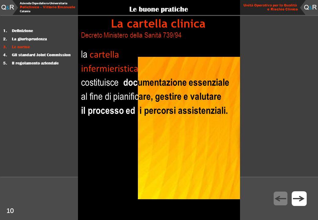 10 Fare clic per modificare lo stile del titolo Q&RQ&R Azienda Ospedaliero-Universitaria Policlinico – Vittorio Emanuele Catania Q&RQ&R 10 Unità Opera