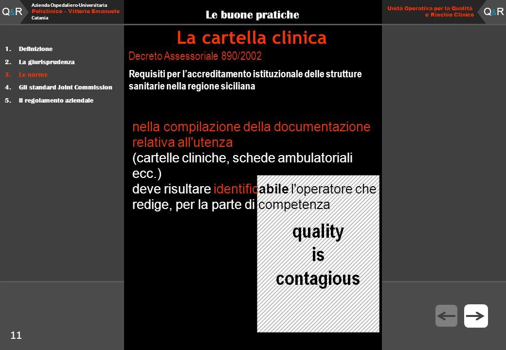 11 Fare clic per modificare lo stile del titolo Q&RQ&R Azienda Ospedaliero-Universitaria Policlinico – Vittorio Emanuele Catania Q&RQ&R 11 Unità Opera