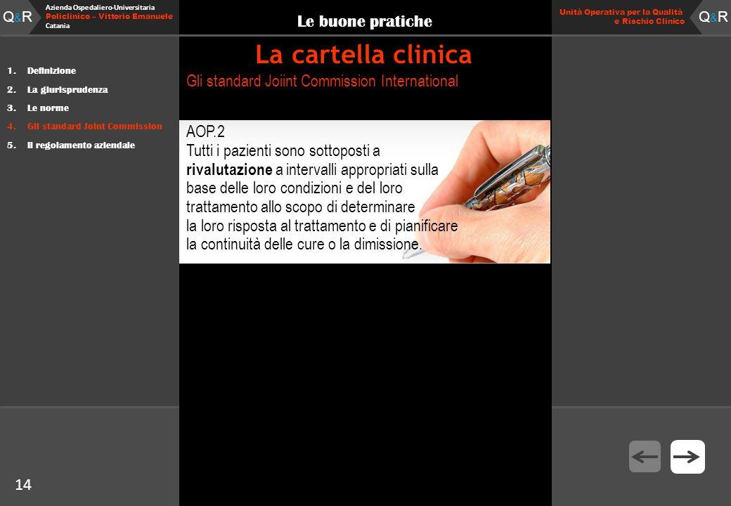 14 Fare clic per modificare lo stile del titolo Q&RQ&R Azienda Ospedaliero-Universitaria Policlinico – Vittorio Emanuele Catania Q&RQ&R 14 Unità Opera