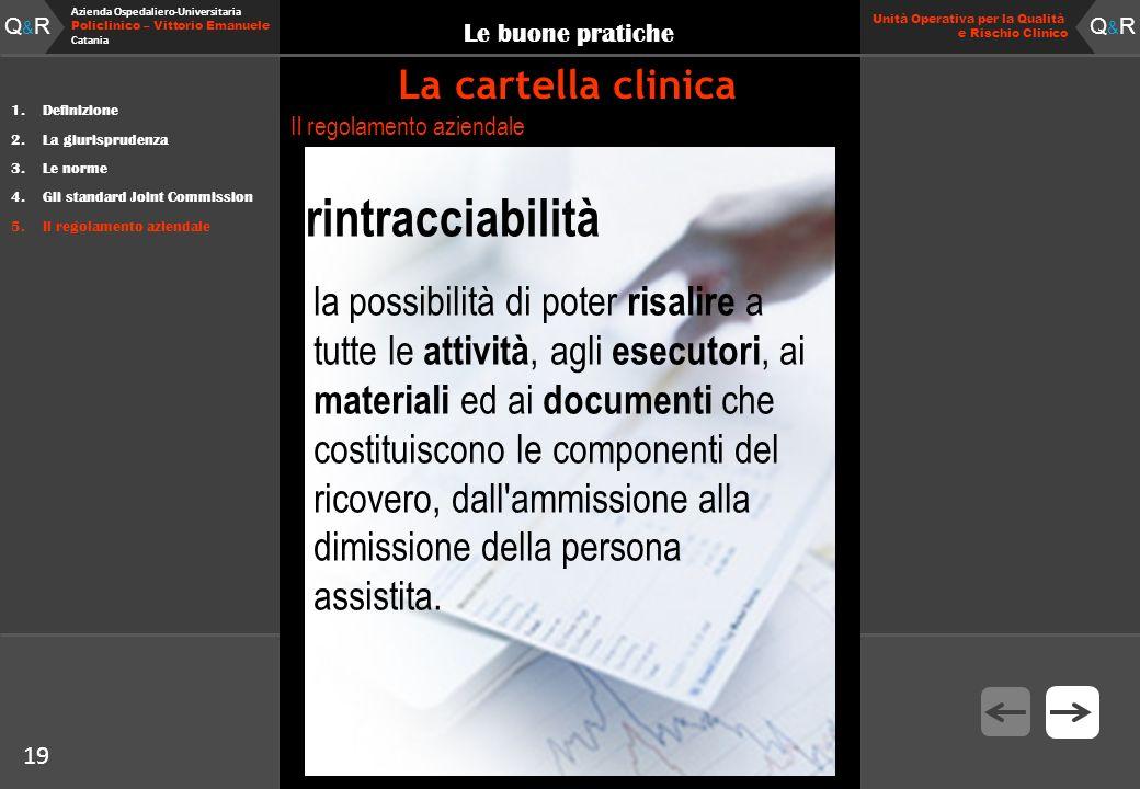 19 Fare clic per modificare lo stile del titolo Q&RQ&R Azienda Ospedaliero-Universitaria Policlinico – Vittorio Emanuele Catania Q&RQ&R 19 Unità Opera