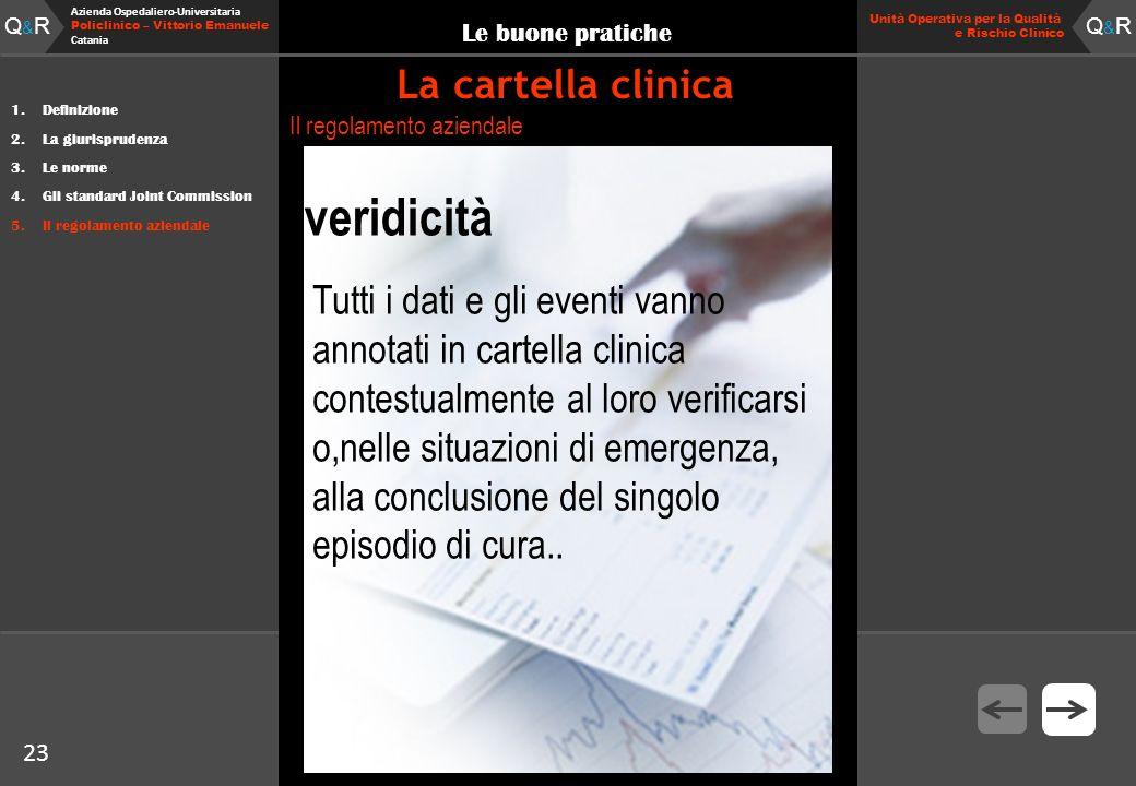 23 Fare clic per modificare lo stile del titolo Q&RQ&R Azienda Ospedaliero-Universitaria Policlinico – Vittorio Emanuele Catania Q&RQ&R 23 Unità Opera