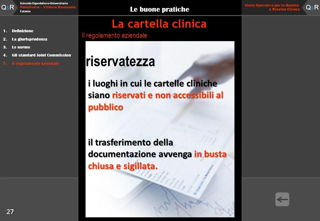 27 Fare clic per modificare lo stile del titolo Q&RQ&R Azienda Ospedaliero-Universitaria Policlinico – Vittorio Emanuele Catania Q&RQ&R 27 Unità Opera