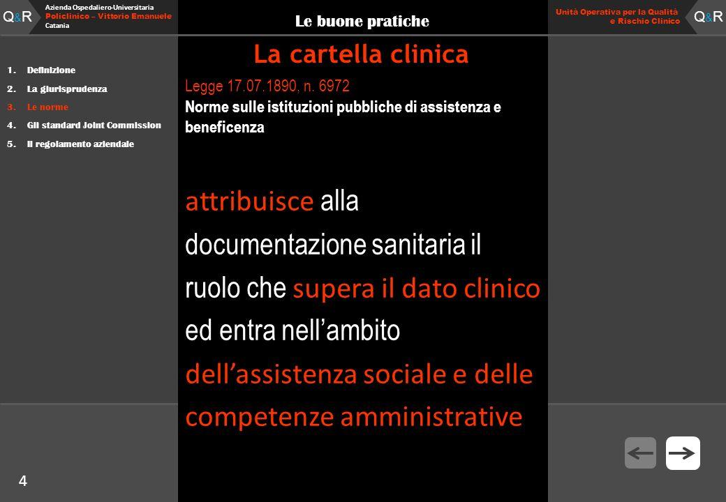 4 Fare clic per modificare lo stile del titolo Q&RQ&R Azienda Ospedaliero-Universitaria Policlinico – Vittorio Emanuele Catania Q&RQ&R 4 Unità Operati