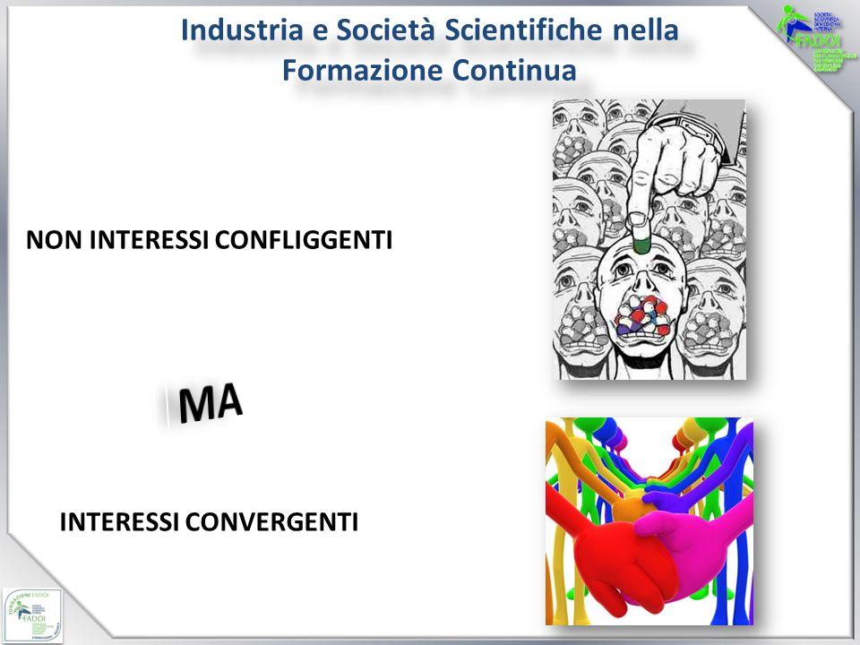 Industria e Società Scientifiche nella Formazione Continua NON INTERESSI CONFLIGGENTI INTERESSI CONVERGENTI