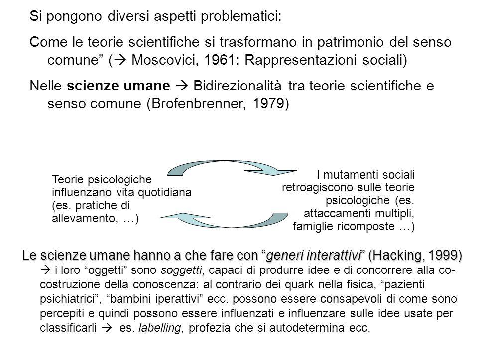 Si pongono diversi aspetti problematici: Come le teorie scientifiche si trasformano in patrimonio del senso comune ( Moscovici, 1961: Rappresentazioni