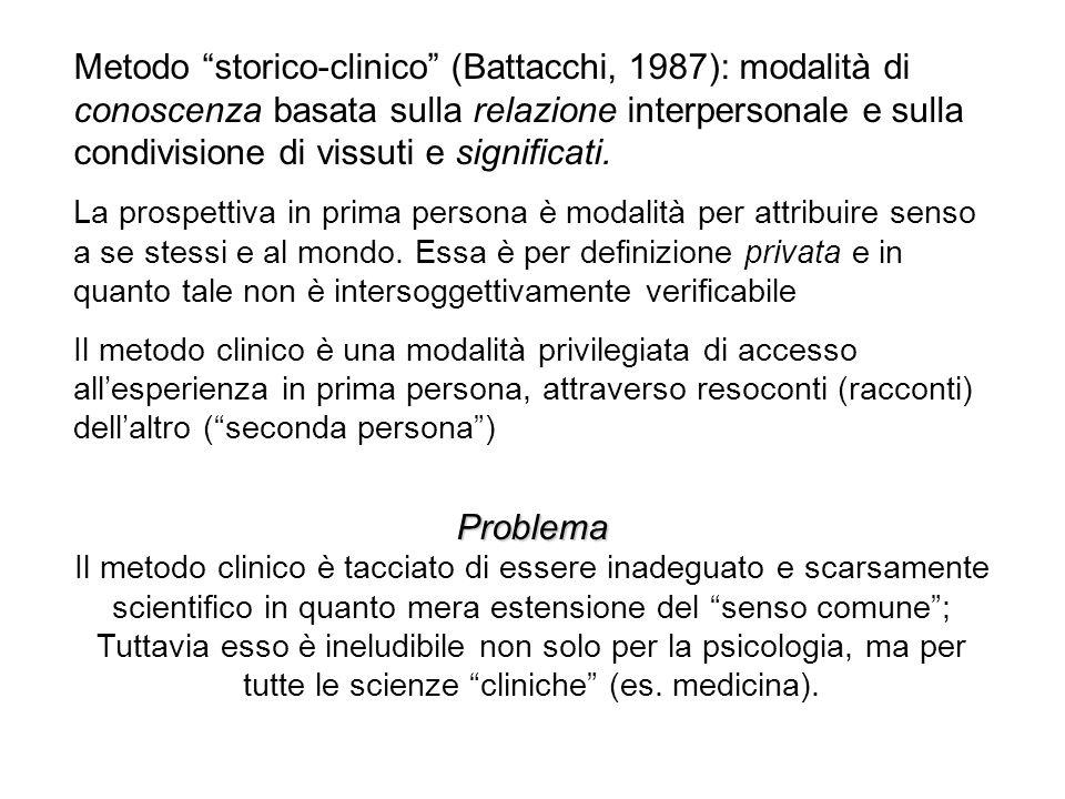 Metodo storico-clinico (Battacchi, 1987): modalità di conoscenza basata sulla relazione interpersonale e sulla condivisione di vissuti e significati.