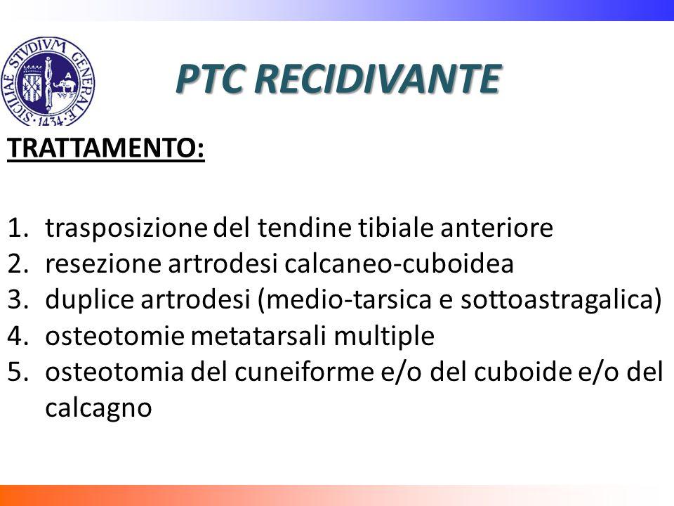 PTC RECIDIVANTE TRATTAMENTO: 1.trasposizione del tendine tibiale anteriore 2.resezione artrodesi calcaneo-cuboidea 3.duplice artrodesi (medio-tarsica