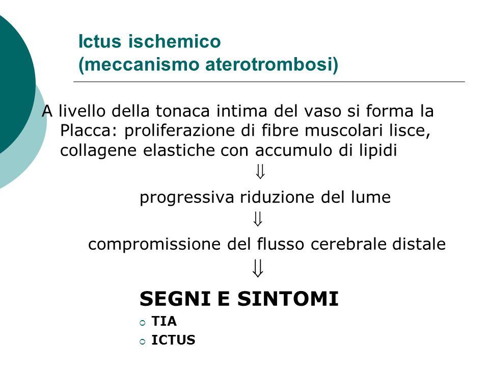 Ictus ischemico (meccanismo aterotrombosi) A livello della tonaca intima del vaso si forma la Placca: proliferazione di fibre muscolari lisce, collage