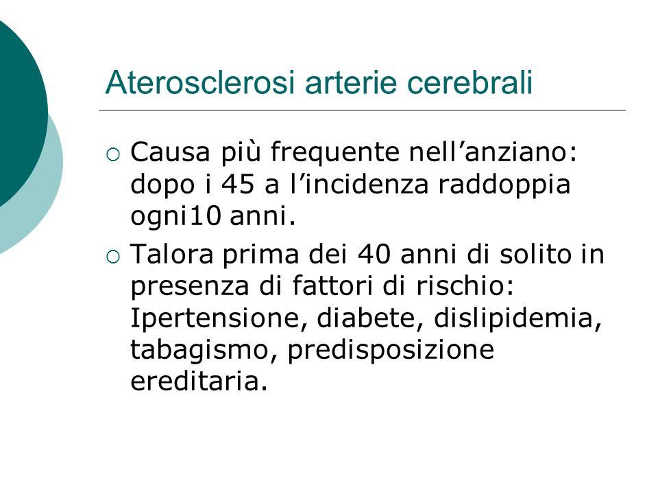 Aterosclerosi arterie cerebrali Causa più frequente nellanziano: dopo i 45 a lincidenza raddoppia ogni10 anni. Talora prima dei 40 anni di solito in p