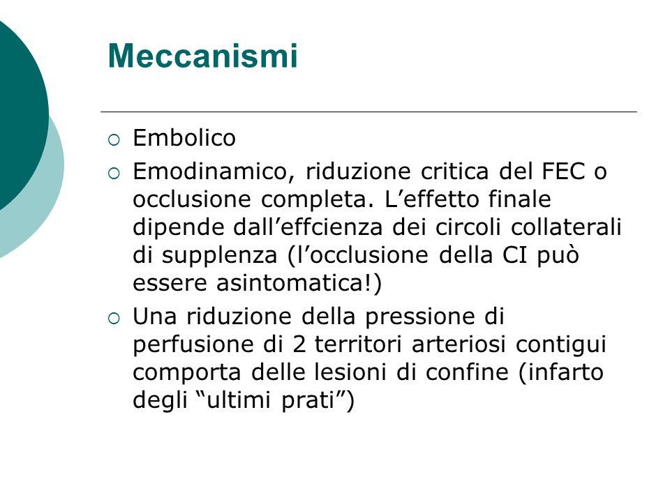 Meccanismi Embolico Emodinamico, riduzione critica del FEC o occlusione completa. Leffetto finale dipende dalleffcienza dei circoli collaterali di sup