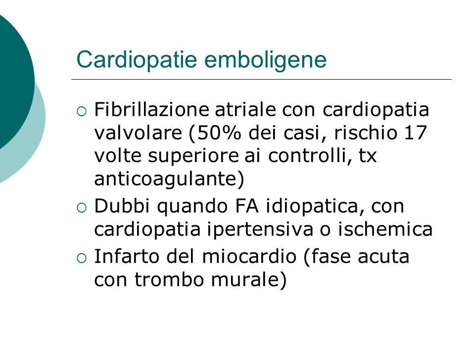 Cardiopatie emboligene Fibrillazione atriale con cardiopatia valvolare (50% dei casi, rischio 17 volte superiore ai controlli, tx anticoagulante) Dubb