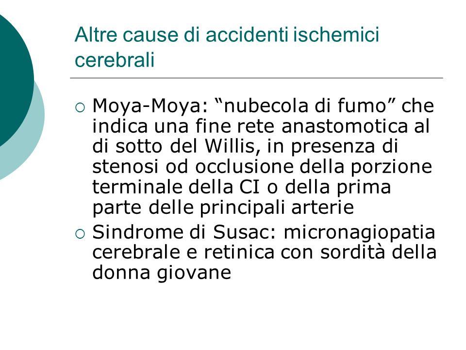 Altre cause di accidenti ischemici cerebrali Moya-Moya: nubecola di fumo che indica una fine rete anastomotica al di sotto del Willis, in presenza di