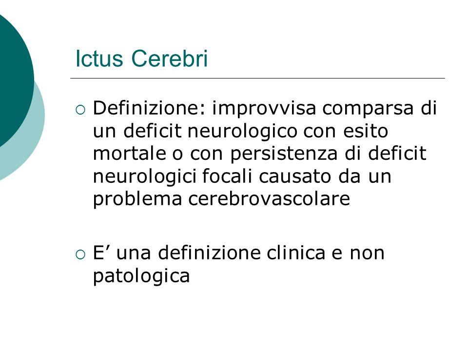 Ictus Cerebri Definizione: improvvisa comparsa di un deficit neurologico con esito mortale o con persistenza di deficit neurologici focali causato da